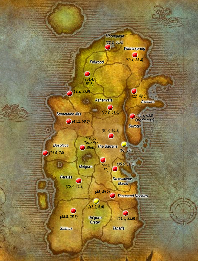Flight Points Kalimdor Horde